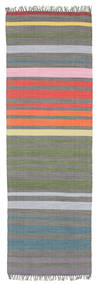 Rainbow Stripe - Gris Alfombra 80X250 Moderna Tejida A Mano Gris Oscuro/Gris Claro (Algodón, India)