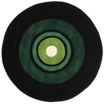 Schallplatte Handtufted Alfombra Ø 150 Moderna Redonda Verde Oscuro (Lana, India)
