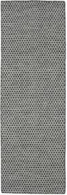 Kilim Honey Comb - Negro/Gris Alfombra 80X240 Moderna Tejida A Mano Gris Claro/Gris Oscuro (Lana, India)