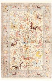 Ghom De Seda Alfombra 140X211 Oriental Hecha A Mano Beige/Beige Oscuro (Seda, Persia/Irán)