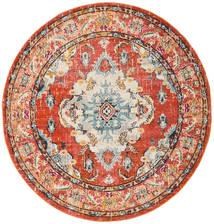 Leia - Naranja Alfombra Ø 200 Moderna Redonda Marrón Claro/Roja ( Turquía)