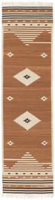Tribal - Amarillo Mostaza Alfombra 80X300 Moderna Tejida A Mano Marrón/Marrón Claro/Beige (Lana, India)