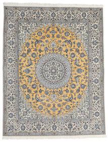 Nain 9La Alfombra 200X253 Oriental Hecha A Mano Gris Claro/Gris Oscuro (Lana/Seda, Persia/Irán)