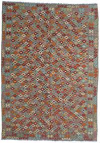 Kilim Afghan Old Style Alfombra 210X292 Oriental Tejida A Mano Gris Oscuro/Verde Oliva (Lana, Afganistán)